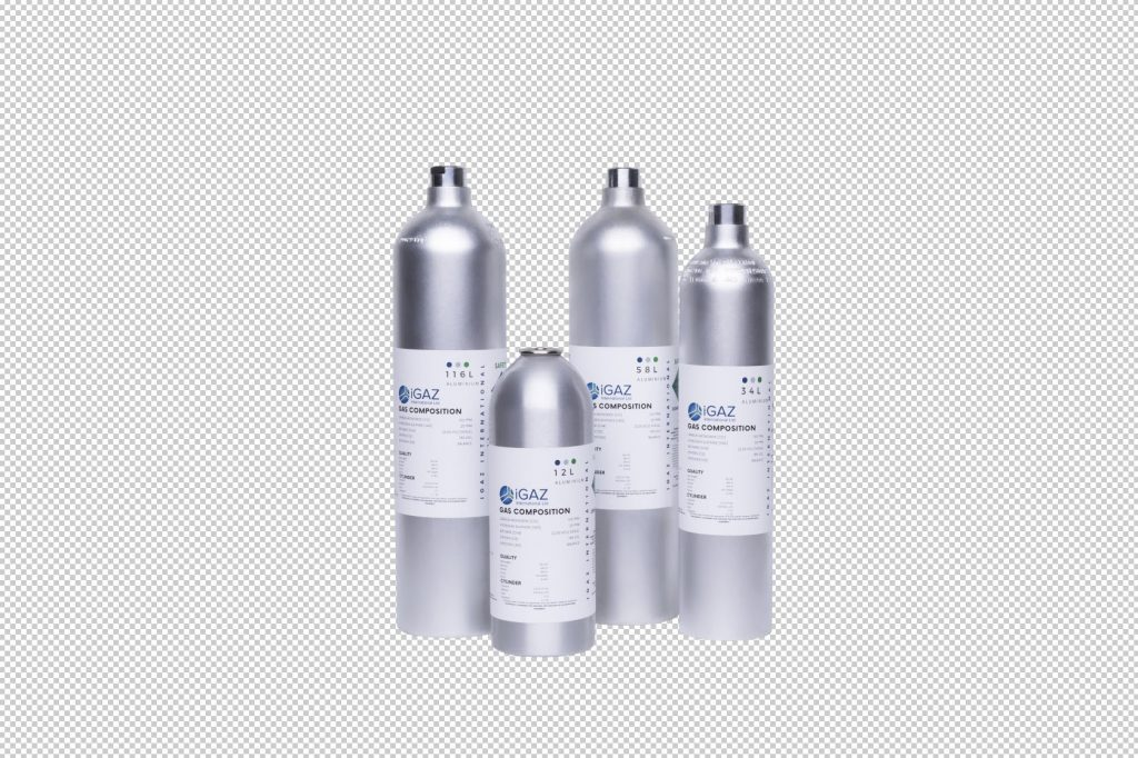 Cut out photo of gas cylinders with background removed to show how background colour can be changed.