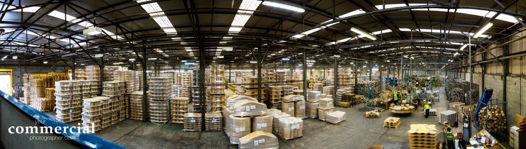 Panoramic photo of inside of manufacturing facility in Leigh near Manchester