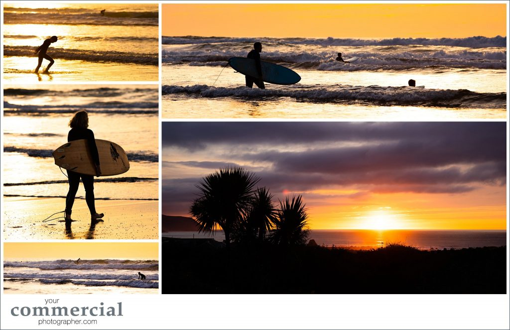 beach photography - surfing and sunset