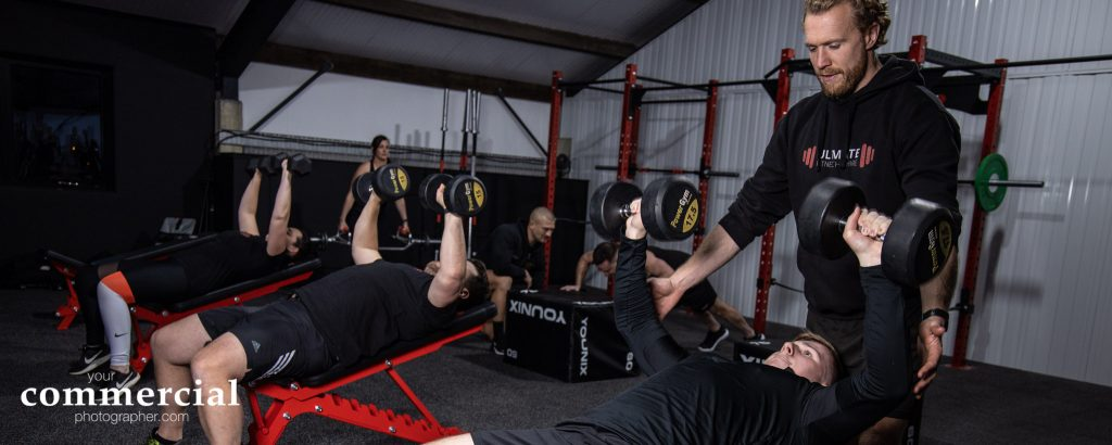 Weight training class at a gym in Warrington, Cheshire